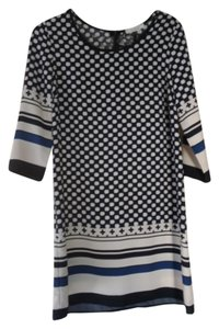 illa illa short dress Cream, black, cobalt blue Tunic A Line Geometric on Tradesy