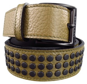 Burberry BURBERRY Olive Khaki Green Textured Leather Matte Black Studded Belt