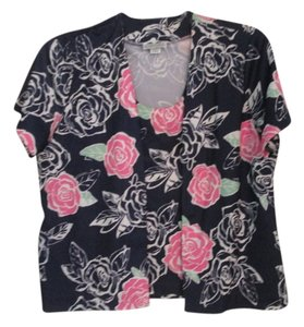 Other Top Navy blue with pink roses