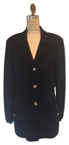St. John Sz 14 Knit Long Rhinestone Gold Buttons Jacket