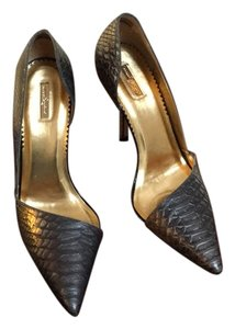 Report Signature Pewter Snake Pumps
