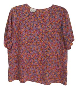 Kathie Lee Collection Top Orange, blue, yellow, green