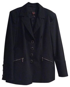 Escada Fitted Jacket Zipper Black Blazer