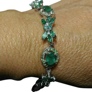 Other 14.0CT EMERALD 14K GOLD PLATED STERLING SILVER BRACELET