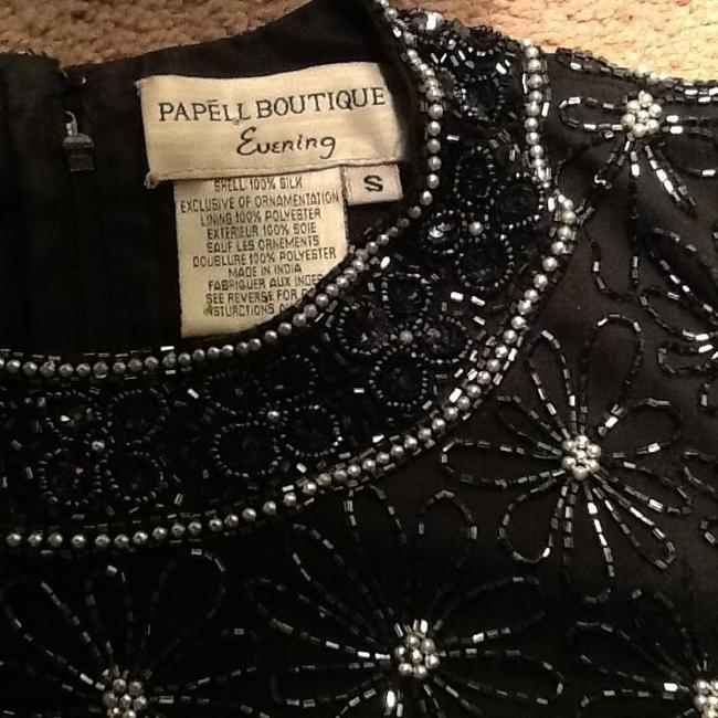 Papell Boutique Beaded Top Black
