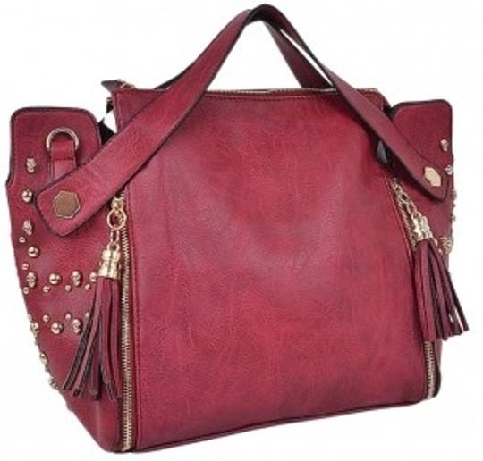 Preload https://item3.tradesy.com/images/studded-with-tassels-red-faux-leather-tote-143317-0-0.jpg?width=440&height=440