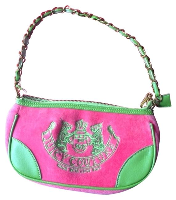 Item - Zip Top Chain Strap Inside Zip Pocket Purse B 1317 Bright Green with Hot Pink Velour Clutch