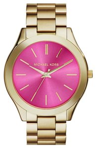 Michael Kors NEW Michael Kors MK3264 Runway Pink Dial Gold Tone Stainless Steel Women's Watch 100% AUTHENTIC