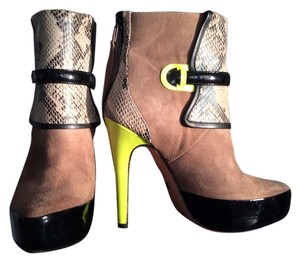 Blonde Ambition Neon Patent Leather Suede Beige Boots