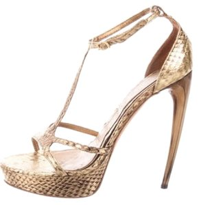 Alexander McQueen Imported Leather Italian Logo Snakeskin Platforms