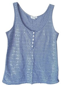 Calvin Klein Sparkle Sequin Summer Top Blue and White