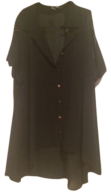 Forever 21 And Gold Sheer Button Down Shirt Black