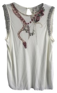 Haute Hippie Rhinestone Jersey Knit Top cream