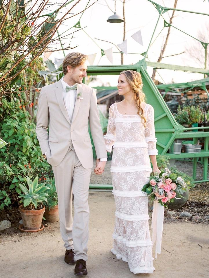 BHLDN Nude Slip and Ivory Lace Esprit De Corps Gown Vintage Wedding ...