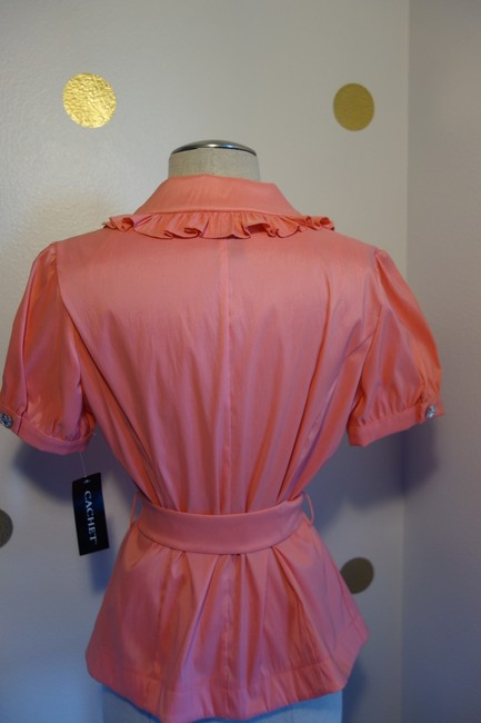 Cachet Peach Pink Elegant and Sexy Button-down Top Size 6 (S) Cachet Peach Pink Elegant and Sexy Button-down Top Size 6 (S) Image 2
