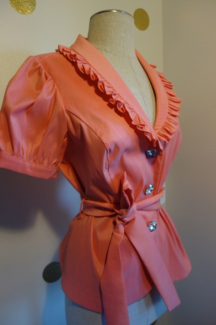 Cachet Peach Pink Elegant and Sexy Button-down Top Size 6 (S) Cachet Peach Pink Elegant and Sexy Button-down Top Size 6 (S) Image 5