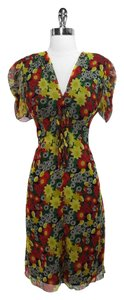 Anna Sui short dress Red & Yellow Silk on Tradesy
