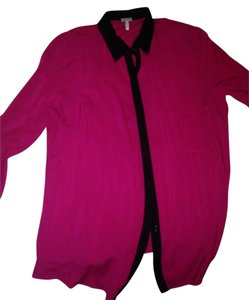 Splendid Button Down Shirt Bright Pink and Black