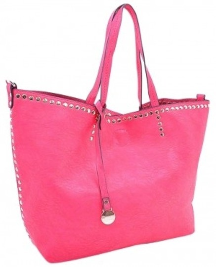 Preload https://item4.tradesy.com/images/studded-handbag-with-matching-cosmetic-case-pink-faux-leather-tote-143333-0-0.jpg?width=440&height=440