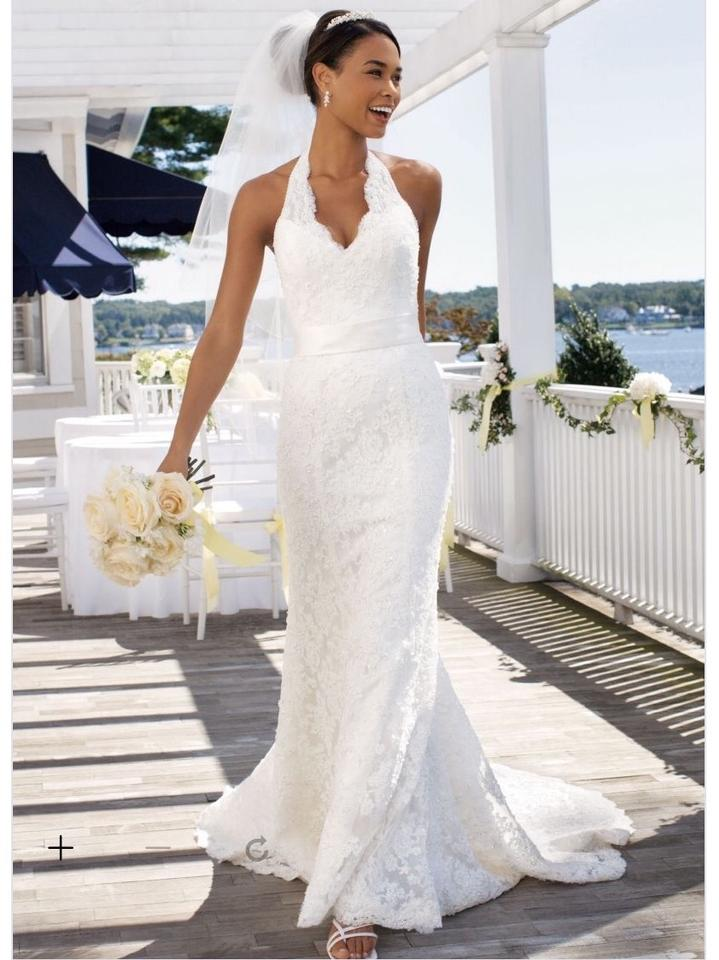 910a362392a David s Bridal Ivory Lace Satin Allover Beaded with Illusion Halter  Neckline T9512 Wedding Dress