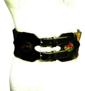 Kenzo Vintage Kenzo Embroidered Flowers Motif Leather Panel Belt