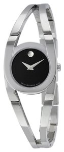 Movado Movado 0606394 Amorosa Stainless Steel Band Black Dial Ladies Watch $595