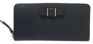 Coach Coach Women's Darcy Bow Accordion Navy Blue Zip Soft Leather Wallet MSRP $268