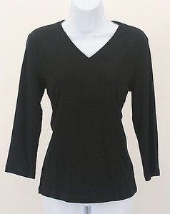 Chico's 0 Black 34 Sleeve Cotton Tee B186 T Shirt