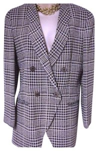 Giorgio Armani Vintage Mani By Mint Silk Jacket 10 navy cream Blazer