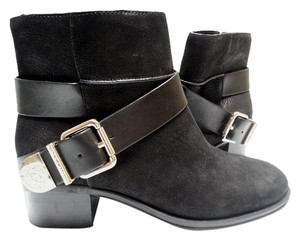 Vince Camuto Leather/suede Wraparound Strap Accented Silvertone Buckle Black Boots
