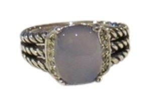 David Yurman David Yurman The Wheaton Collection - Petite Cabochon Light Blue Chalcedony and Diamond Ring, Size 6.5