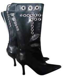 Nine West Studs Gromets Leather Black Boots
