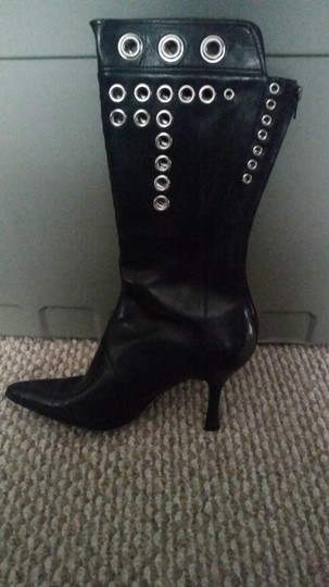 Nine West Gromets Leather Leather Black Boots