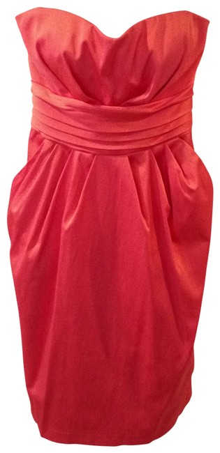 Preload https://img-static.tradesy.com/item/143364/snap-coral-strapless-satiny-above-the-knee-cocktail-dress-size-6-s-0-0-650-650.jpg
