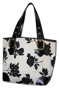 Banana Republic Floral Cotton Tote in white and black