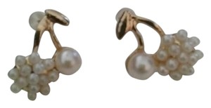 oTher Faux pearl cherry gold filled stud earrings