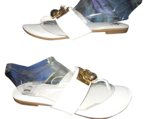 Kelsi Dagger Leather Thong Flats white Sandals