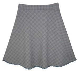 Anthropologie Plaid Lace A-line Skirt