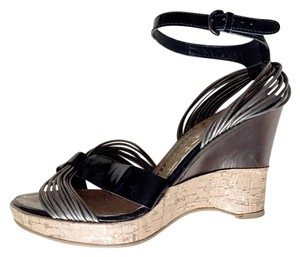 Ted Baker Black + SIlver Wedges
