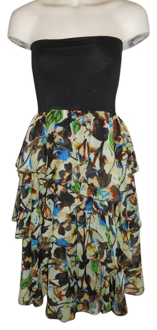 Item - Black Multi Color Print Layered Strapless Mid-length Night Out Dress Size 4 (S)