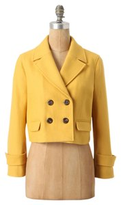 Anthropologie Cartonnier Cropped Wool Blend Yellow Pea Coat