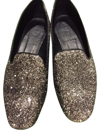 J.Crew Darby Loafers Leather New Silver Glitter, Black Flats