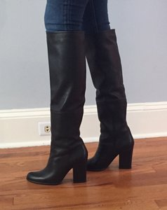 Stuart Weitzman Leather Stacked Heel Zipper Black Boots