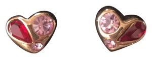 Marc by Marc Jacobs Pink Stone Accented Heart Stud Earrings