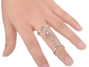 Adorable hand of Fatimah Silver plated Ring Size 7 to 8 adjustable