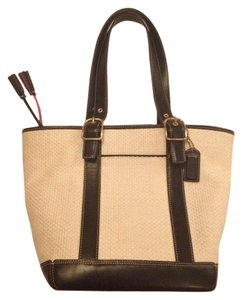 Coach Tote in Cream with Black