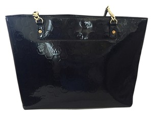 MICHAEL Michael Kors Patent Leather Gold Trim Tote in Black