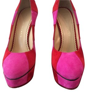 Charlotte Olympia purple and Red Suede Pumps