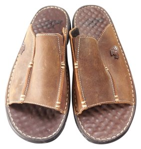Justin Logo New Without Tags Leather Brown Mules