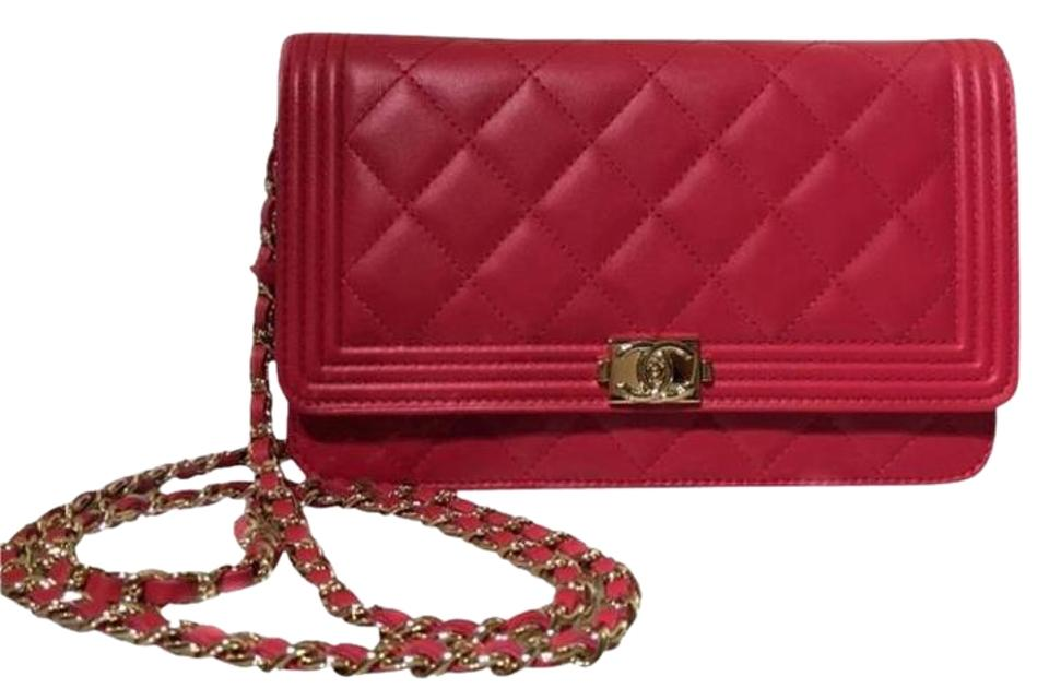 5f77d3f0430d11 Chanel Boy Wallet on Chain Le Woc with Gold Hardware Red Lambskin Cross  Body Bag